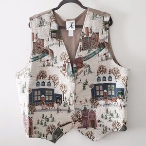Vintage Holiday Winter Christmas Vest Embroidery